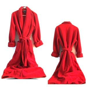 Land's End Womens  Flannel Red Robe  2 Front